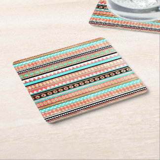 Trendy aztec square paper coaster