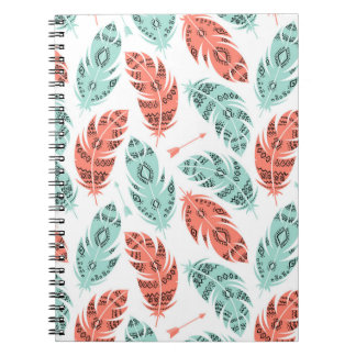 Trendy Aztec Tribal Feathers Pattern Notebook