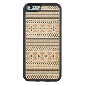 Trendy Aztec Tribal Print Geometric Pattern Almond Carved Maple iPhone 6 Bumper Case