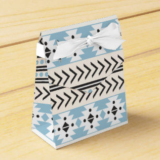 Trendy Aztec Tribal Print Geometric Pattern Aqua Party Favor Boxes