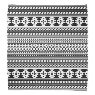 Trendy Aztec Tribal Print Geometric Pattern(Black) Bandana