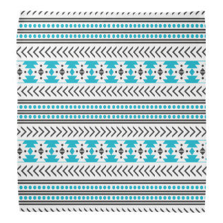 Trendy Aztec Tribal Print Geometric Pattern Blue Bandana