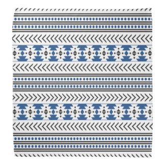 Trendy Aztec Tribal Print Geometric Pattern Blue Bandana