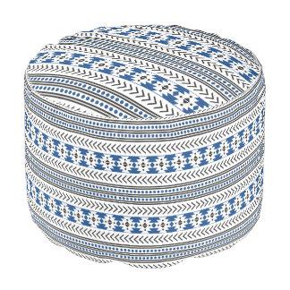 Trendy Aztec Tribal Print Geometric Pattern Blue Pouf