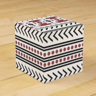 Trendy Aztec Tribal Print Geometric Pattern Red Wedding Favor Box