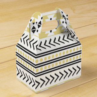 Trendy Aztec Tribal Print Geometric Pattern Yellow Favor Boxes