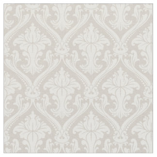 Trendy Beige Baroque Damask Pattern Fabric