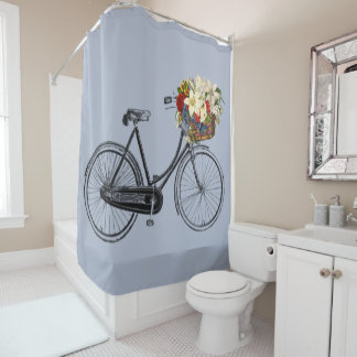 Trendy bicycle flower bike Shower curtain