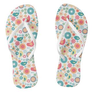 Trendy Bird floral flip flops, fun summer design Flip Flops