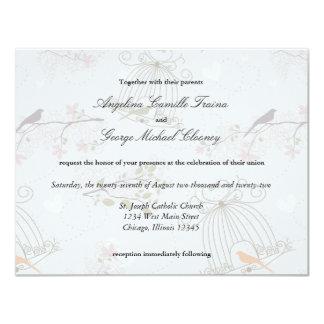 Trendy Birdcages And Flowers Wedding Invite