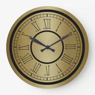 Trendy Black And Gold Large Clock