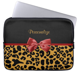 Trendy Black and Gold Leopard Print Red Ribbon Bow Laptop Sleeve