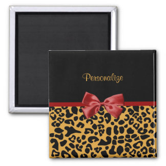 Trendy Black and Gold Leopard Print Red Ribbon Bow Magnet