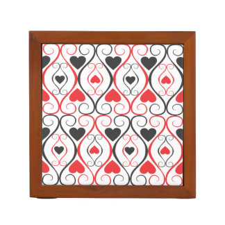Trendy Black And Red Hearts Pattern Desk Organizers