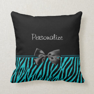 Trendy Black And Teal Zebra Print With Ribbon Throw Pillow
