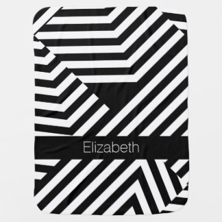 Trendy Black and White Geometric Stripes Baby Name Baby Blanket