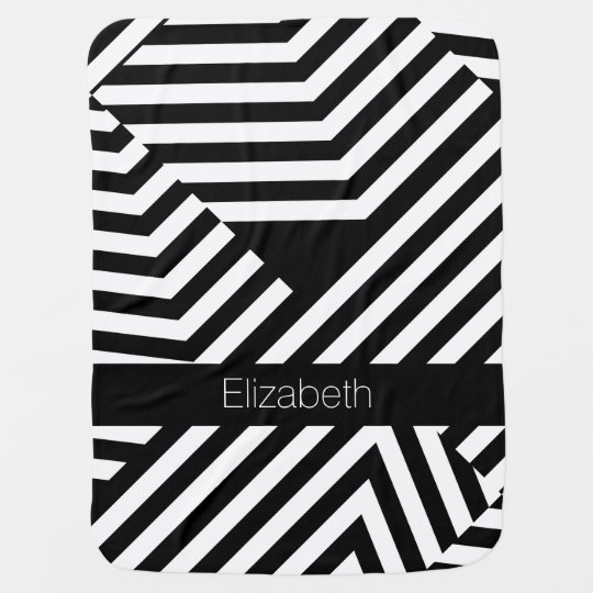 Trendy Black and White Geometric Stripes Baby Name Swaddle Blankets