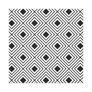 Trendy Black And White Geometric Tribal Pattern Canvas Print