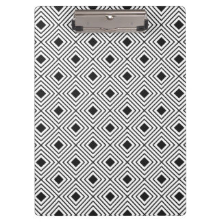 Trendy Black And White Geometric Tribal Pattern Clipboard