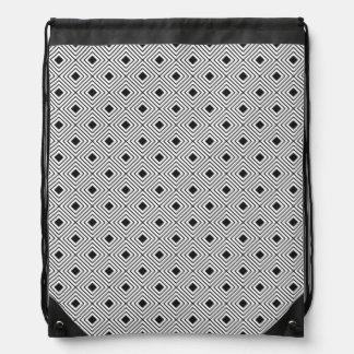 Trendy Black And White Geometric Tribal Pattern Drawstring Bag