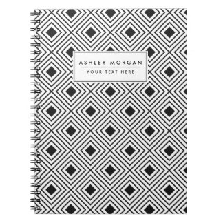 Trendy Black And White Geometric Tribal Pattern Notebook