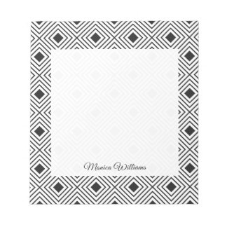 Trendy Black And White Geometric Tribal Pattern Notepad