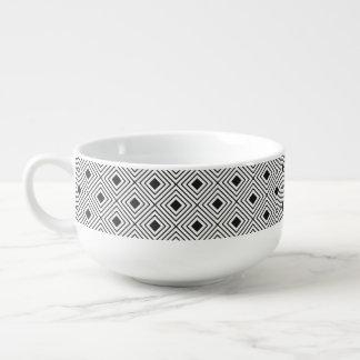 Trendy Black And White Geometric Tribal Pattern Soup Mug
