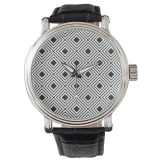 Trendy Black And White Geometric Tribal Pattern Watch