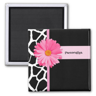 Trendy Black And White Giraffe Pink Daisy and Name Magnet