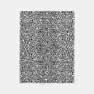 Trendy Black and White Leopard Print Animal Spots Fleece Blanket