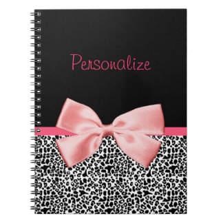 Trendy Black And White Leopard Print Pink Ribbon Notebook