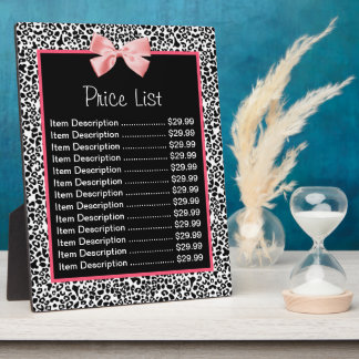 Trendy Black And White Leopard Print Price List Plaque