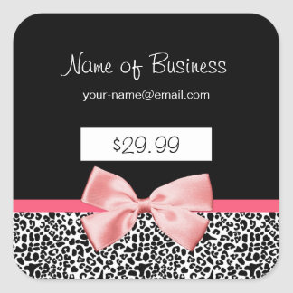 Trendy Black And White Leopard Print Price Tags Square Sticker