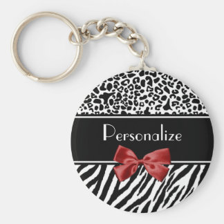 Trendy Black And White Leopard Zebra Print Red Bow Keychain