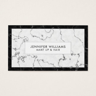 Trendy Black and White Marble Business Card
