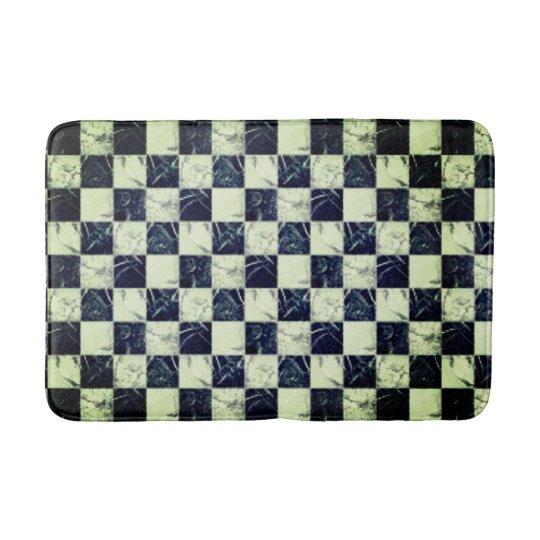 Trendy black and white marble stone texture design bath mat
