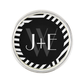 Trendy Black and White Monogram Stripes Wedding Lapel Pin