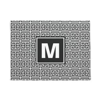Trendy Black and White Pattern Monogram Doormat
