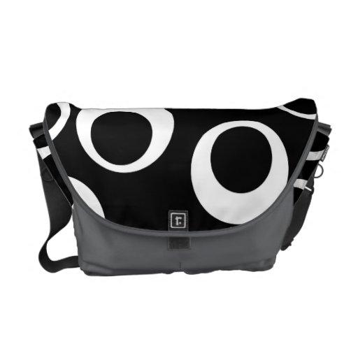 Trendy black and white retro design. messenger bag