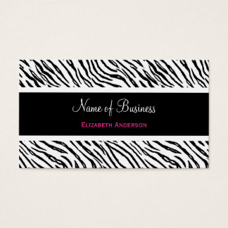Trendy Black and White Tiger Stripes Pink Name Business Card