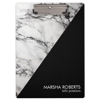 Trendy Black And White Triangle Marble Stone Clipboard