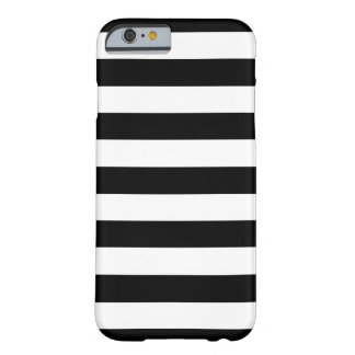 Trendy Black and White Wide Horizontal Stripes Barely There iPhone 6 Case