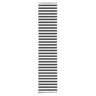 Trendy Black and White Wide Horizontal Stripes Short Table Runner
