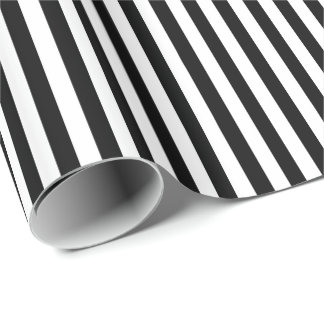 Trendy Black and White Wide Horizontal Stripes Wrapping Paper