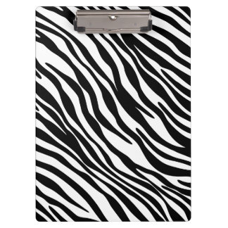 Trendy Black and White Zebra Print Clipboard