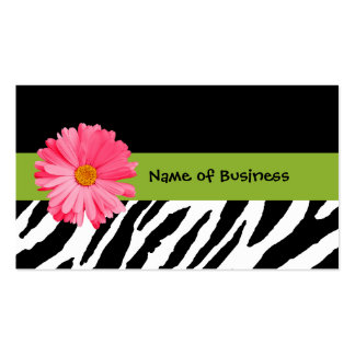 Trendy Black And White Zebra Print Pink Daisy Business Card