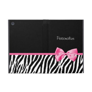 Trendy Black And White Zebra Print Pink Ribbon Case For iPad Mini