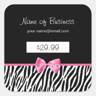 Trendy Black And White Zebra Print Price Tag Square Sticker