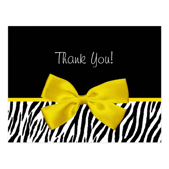 Trendy Black And White Zebra Print Yellow Ribbon Postcard