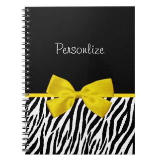 Trendy Black And White Zebra Print Yellow Ribbon Spiral Note Books